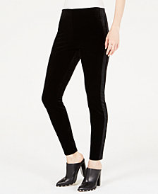Bar III Velvet Contrast-Stripe Skinny Pants, Created for Macy's