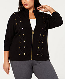 Belldini Black Label Plus Size Laced-Grommet Detail Sweater