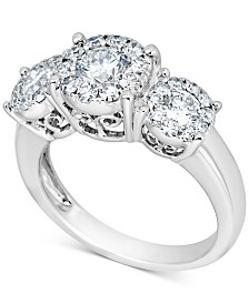 Diamond Halo Three-Stone Engagement Ring (1-1/2 ct. t.w.) in 14k White Gold