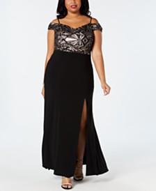 Morgan & Company Plus Size Cold-Shoulder A-Line Gown