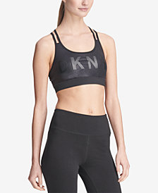 DKNY Sport Logo Glitter Strappy-Back Low-Impact Sports Bra, Created for Macy's