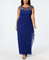 c9cd0977f570 Xscape Plus Size Illusion Beaded Gown