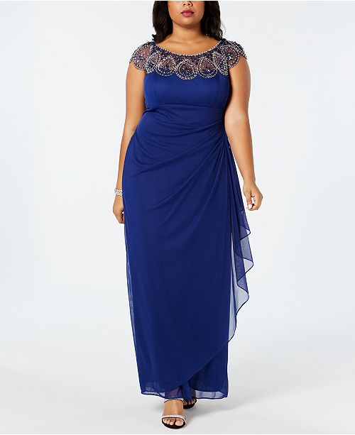 6d1002720f2a9 XSCAPE Plus Size Illusion Beaded Gown & Reviews - Dresses - Women ...