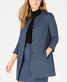 Anne Klein Tweed 3/4-Sleeve Topper Jacket
