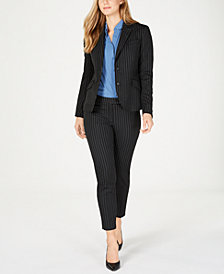 Anne Klein Pinstriped Blazer, Collared Blouse & Ankle Pants