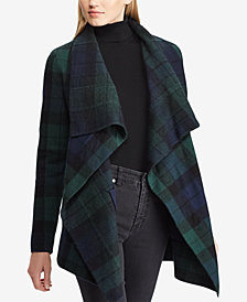 Lauren Ralph Lauren Plaid Shawl Wool Sweater