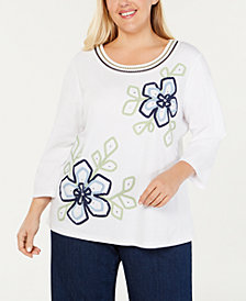 Alfred Dunner Plus Size Greenwich Hills Floral Soutache Top