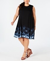 Style   Co Plus Size Border-Print Swing Dress 3a5fe7527481