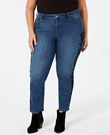 Style & Co Plus Size Cotton Brocade-Trim Boyfriend Jeans, Created for Macy's