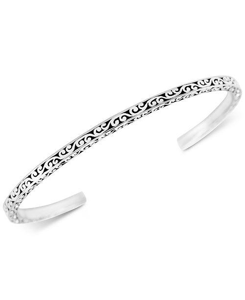 Lois Hill Scroll Cuff Bangle Bracelet in Sterling Silver