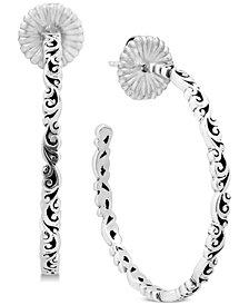 Lois Hill Curly Filigree Hoop Earrings in Sterling Silver