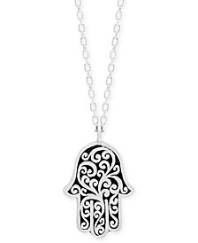 "Lois Hill Decorative Scroll Hamsa Hand 18"" Pendant Necklace in Sterling Silver"