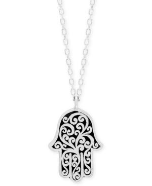 "Decorative Scroll Hamsa Hand 18"" Pendant Necklace in Sterling Silver"