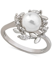 Sterling Silver Cubic Zirconia & Imitation Pearl Ring