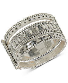 Lucky Brand Silver-Tone Multi-Stone Cuff Bracelet