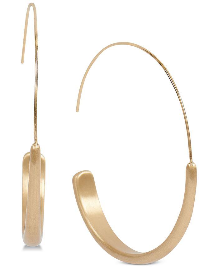 Lucky Brand - Gold-Tone Modern Hoop Earrings
