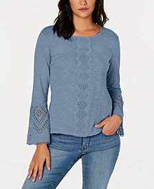 Style & Co Cotton Eyelet Top, Created for Macy's