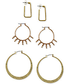 Lucky Brand Two-Tone 3-Pc. Set Hoop Earrings