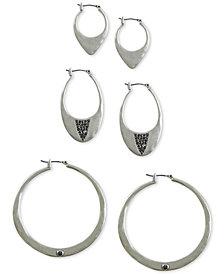 Lucky Brand Silver-Tone 3-Pc. Set Pavé Hoop Earrings