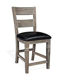 "Pinehurst 24""H Mountain Smoke Ladderback Barstool, Cushion Seat"
