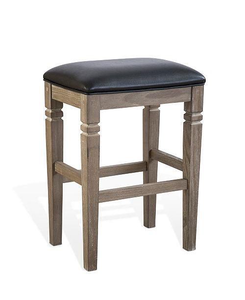 "Sunny Designs Pinehurst 30""H Mountain Smoke Backless Stool, Cushion Seat"