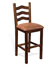 """Santa Fe 30""""H Dark Chocolate Ladderback Stool, Cushion Seat"""