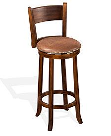 """Santa Fe 30""""H Dark Chocolate Swivel Barstool, Cushion Seat"""