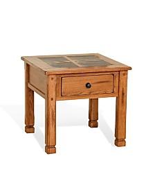 """Sedona 24""""H Rustic Oak End Table, Slate Top"""