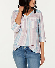 Style & Co Petite Striped Roll-Tab Top, Created for Macy's