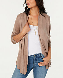 Style & Co Faux-Suede Cardigan, Created for Macy's