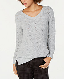 Style & Co Pointelle-Knit Tunic Sweater, Created for Macy's