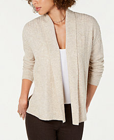 Style & Co Petite Mixed-Rib Open-Front Cardigan, Created for Macy's