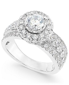 Diamond Halo Ring (2 ct. t.w.) in 14k White Gold