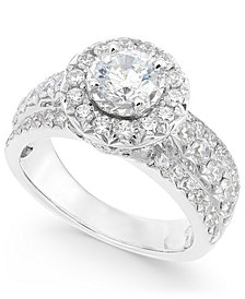 Diamond Halo Ring (2 ct. t.w.) in 14k White Gold