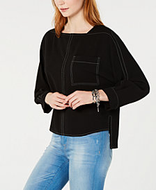 Tommy Hilfiger High-Low Contrast-Stitch Top, Created for Macy's