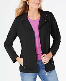 Karen Scott Petite Notch-Collar Jacket, Created for Macy's