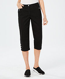 Karen Scott Petite Small Fun Dot Capri Pants