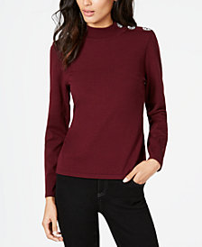 I.N.C. Embellished Mock-Neck Sweater, Created for Macy's