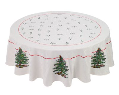 """Christmas Tree Tablecloth, 70"""" Round"""