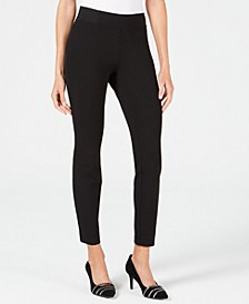 Petite Wide-Waistband Exposed Elastic Skinny Pants, Created for Macy's