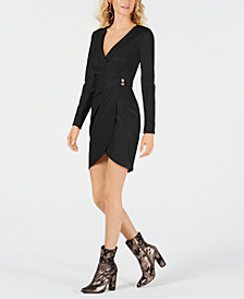 GUESS Lexie Faux-Wrap Faux-Leather Dress