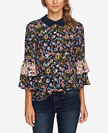 CeCe Printed Ruffled Collared Top
