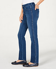 Charter Club Lexington Straight-Leg Braid-Stripe Jeans, Created for Macy's