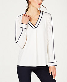 Charter Club Petite Contrasting-Trim V-Neck Top, Created for Macy's