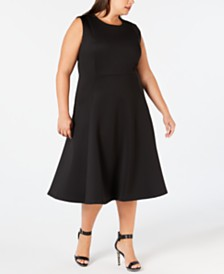 Calvin Klein Plus Size Midi Fit & Flare Dress