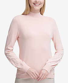 Calvin Klein Embellished Mock-Neck Sweater