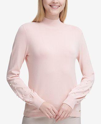 Calvin Klein Embellished Mock-Neck Sweater
