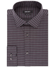 DKNY Men's Slim-Fit Performance Stretch Wrinkle-Resistant Black Check Dress Shirt