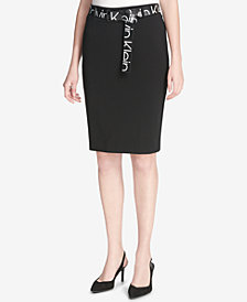 Calvin Klein Logo-Print Belt Pencil Skirt