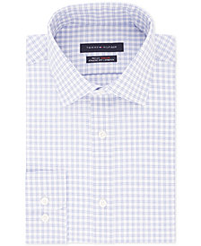 Tommy Hilfiger Men's Fitted TH Flex Performance Stretch Moisture-Wicking Blue Check Dress Shirt